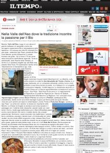 """Il quotidiano """"IL TEMPO"""" dedica un articolo alla Valle dell'Aso, dove la tradizione incontra il Bio"""